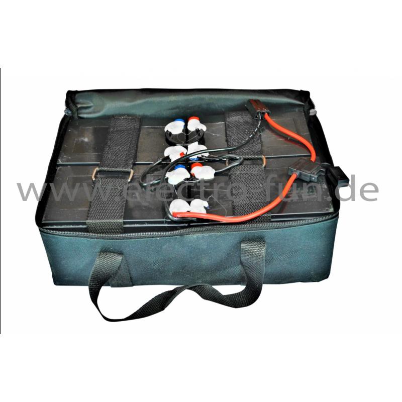 Akku-Blöcke a 12 Volt 4x 6 DZM-12AH inkl. Tasche. Akkus passend für Elektro Fahrzeuge wie z.B. e-Scooter, e-Boards.