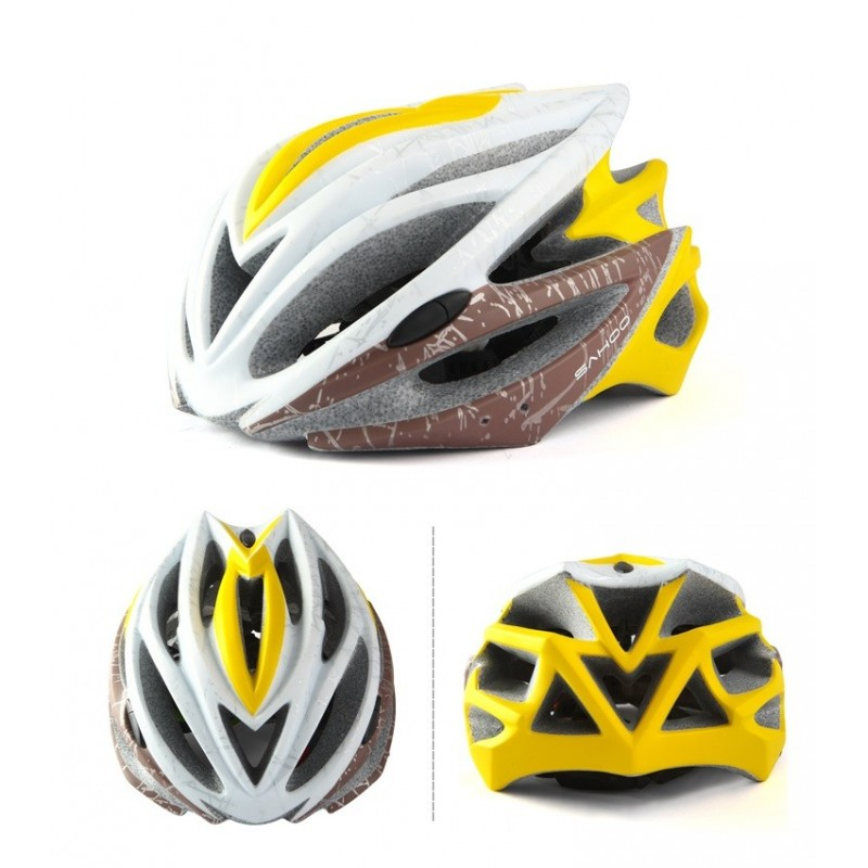 SAHOO Fahrradhelm Weiß/Gelb