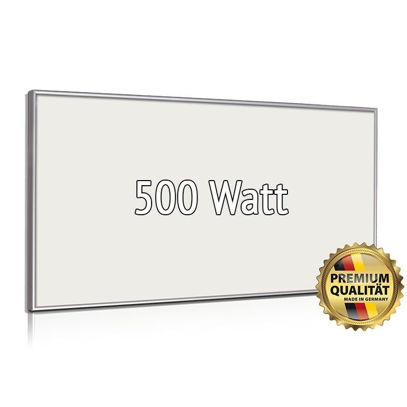 Infrarotheizung Glas weiß 400 Watt mit Rahmen 60 x 70 cm