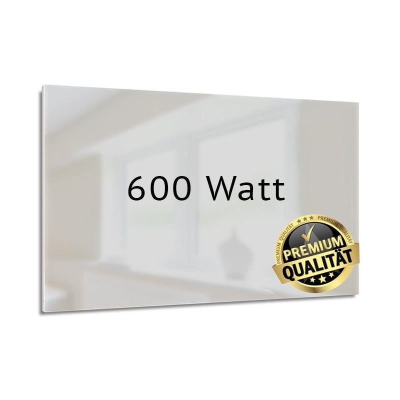 Infrarotheizung Glas weiß 600 Watt rahmenlos 60 x 110 cm