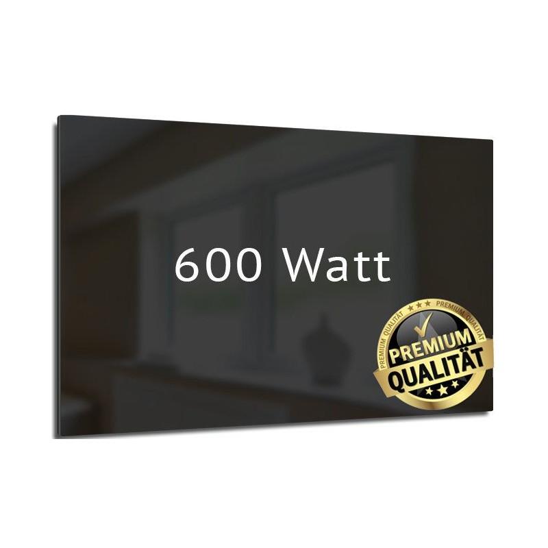 Infrarotheizung Glas schwarz 600 Watt rahmenlos 60 x 110 cm