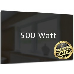 Infrarotheizung Glas schwarz 500 Watt rahmenlos 60 x 90 cm