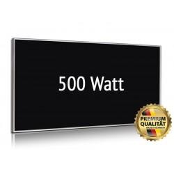 Infrarotheizung Glas schwarz 500 Watt mit Rahmen 60 x 90 cm