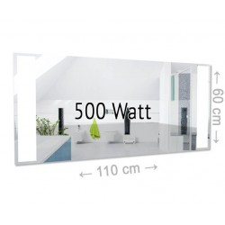 Infrarotheizung Spiegel 500 Watt rahmenlos mit LED Beleuchtung 60 x 110 cm