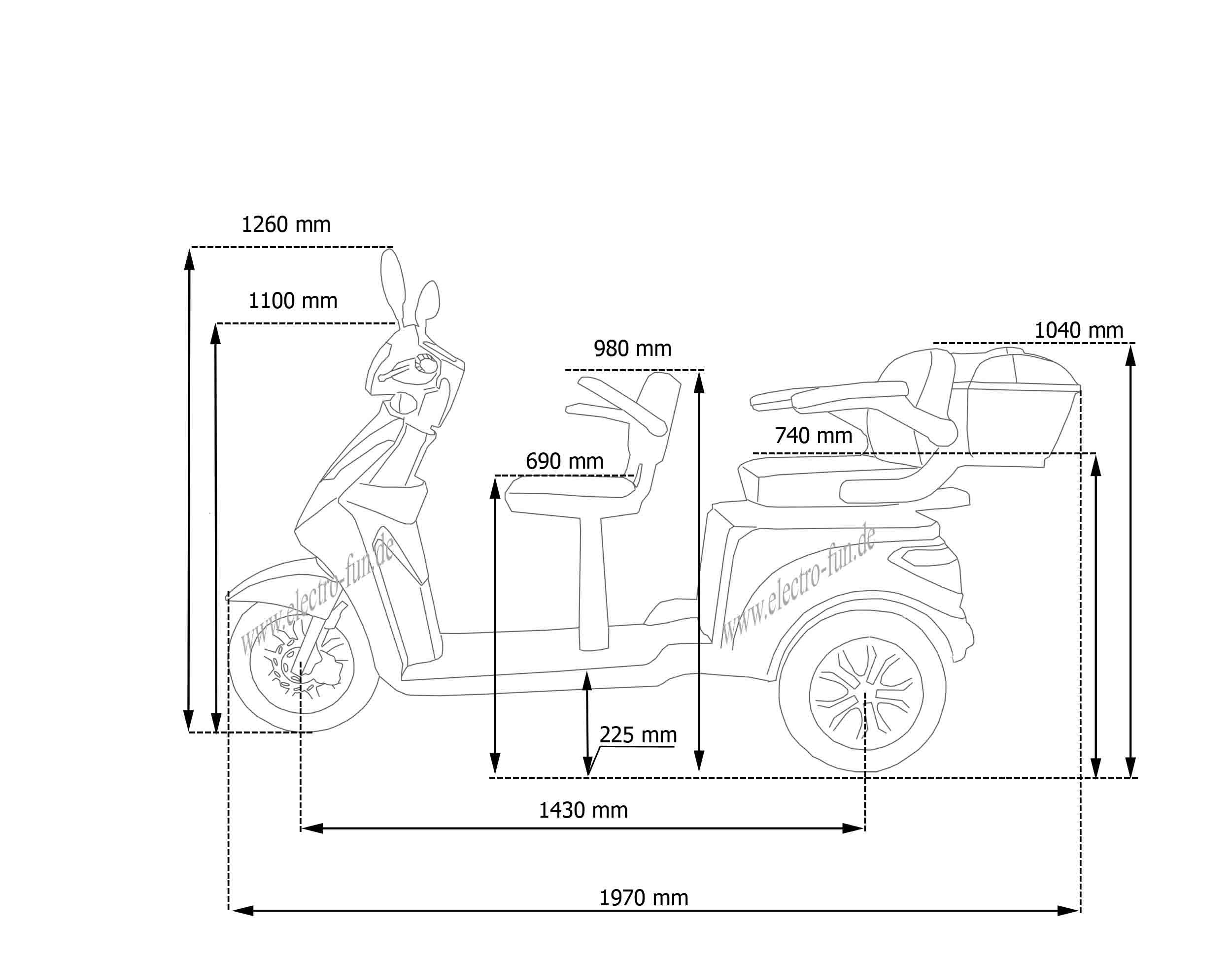 Abmessungen e scooter doppelsitzer ECO ENGEL 503 SILBER MIT LI-IO AKKU, SENIORENMOBIL, 25 KM/H
